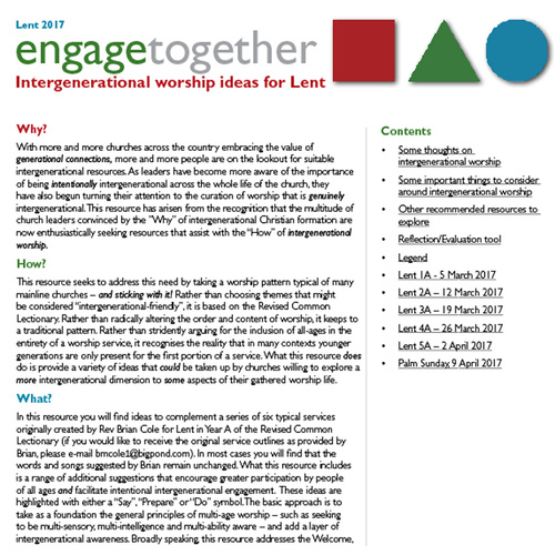 Lent engagetogether - Intergenerational worship ideas